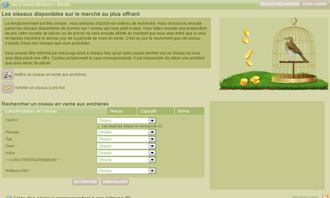 Birdrama - Acheter un oiseau aux encheres et autres interactions